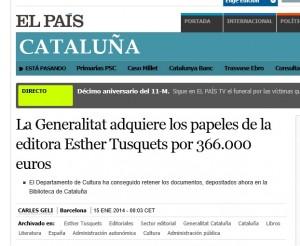 La Generalitat adquiere los papeles de la editora Esther Tusquets por 366.000 euros
